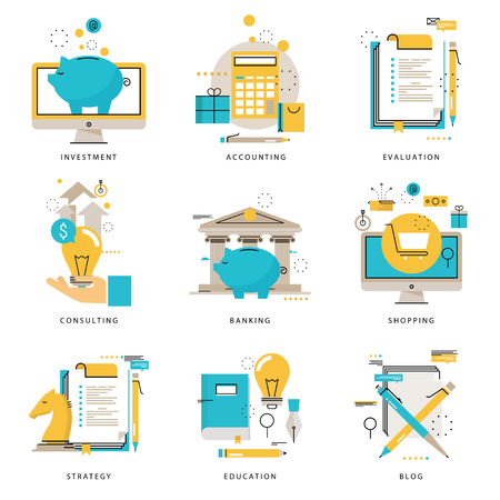 Infographics icons collection for business strategy, e-learning, blog, online shopping, banking, evaluation, financial consulting vector illustration. Line icons set. Flat design web graphics elements Illustration