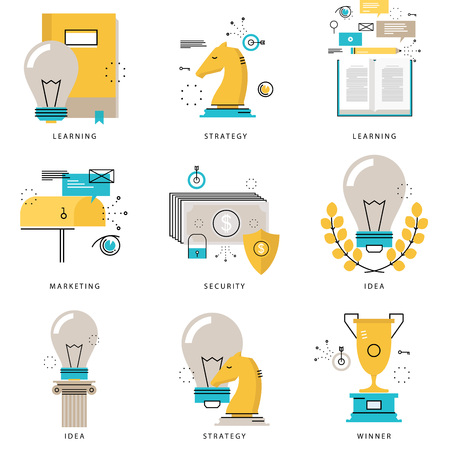 Infographics icons collection for business strategy, marketing tactics, projects, leadership, e-learning, financial security vector illustration. Line icons set. Flat design web graphics elements. Illustration