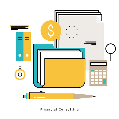 Financial consulting, finance guidance, business advisor, investment assistance, bookkeeping vector illustration design for mobile and web graphics Illusztráció