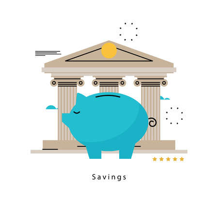 savings account: Piggy bank concept, banking, financial investment, budget management, savings account, deposit, pension fund money, financial planning flat vector illustration design for mobile and web graphics