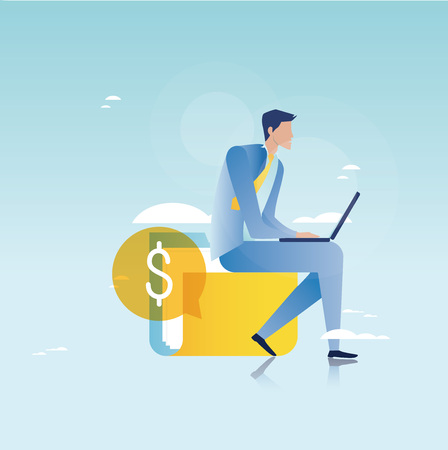 Financieel advies, financiële begeleiding, bedrijfsadviseur, investeringsbijstand, bedrijfs- en financieringsstrategie en schaven vector illustratieontwerp voor mobiele en webafbeeldingen Stockfoto - 81318503