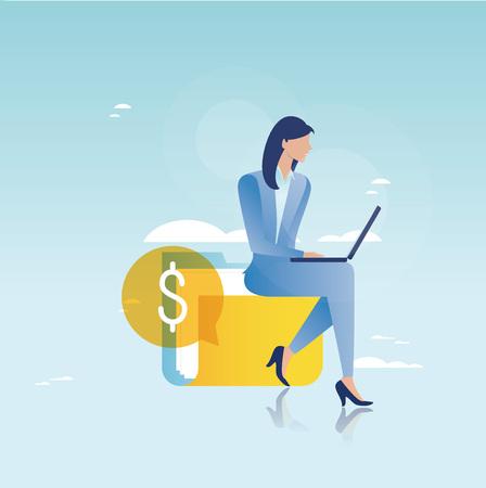 Financieel advies, financiële begeleiding, bedrijfsadviseur, investeringsbijstand, bedrijfs- en financieringsstrategie en schaven vector illustratieontwerp voor mobiele en webafbeeldingen Vector Illustratie
