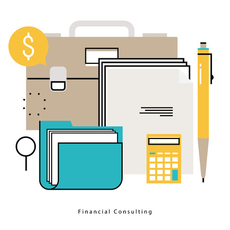 Consultoría financiera, asesoramiento financiero, asesoramiento de negocios, asistencia a la inversión, contabilidad línea plana ilustración vectorial diseño para móviles y gráficos web