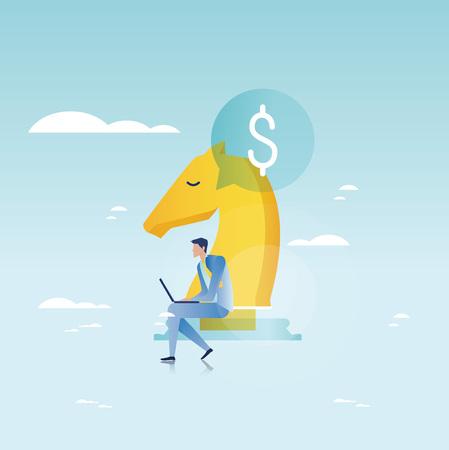 財務コンサルティング、財務指導、ビジネス顧問、投資支援、ビジネスおよび財務戦略と携帯の滑走のベクトル イラスト デザイン、web グラフィッ