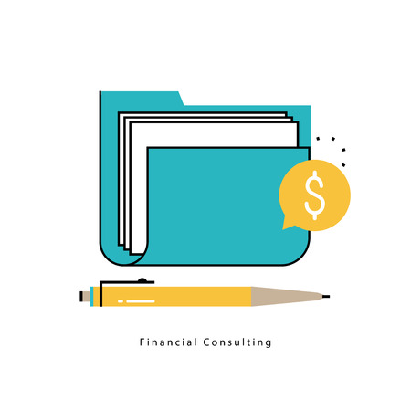 Financial consulting, finance guidance, business advisor, investment assistance, bookkeeping flat line vector illustration design for mobile and web graphics Ilustracja