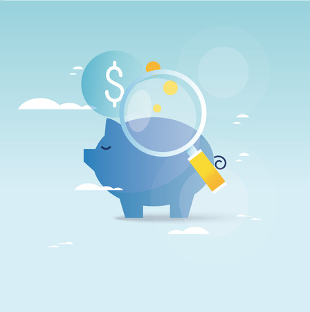Piggy bank concept, financial investment, budget management, savings account, deposit, pension fund money, financial planning vector illustration design for mobile and web graphics Stok Fotoğraf - 81363707