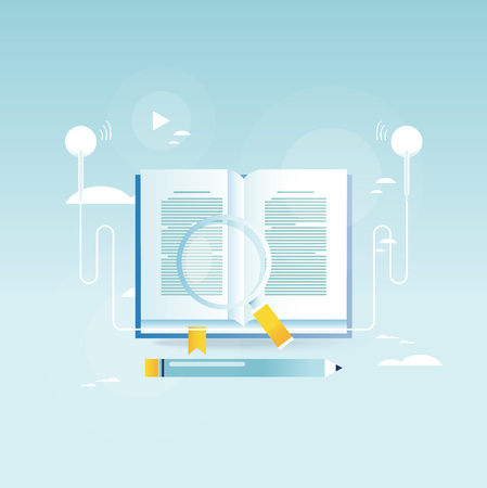 Audio book, online education, e-book vector illustration design for mobile and web graphics.