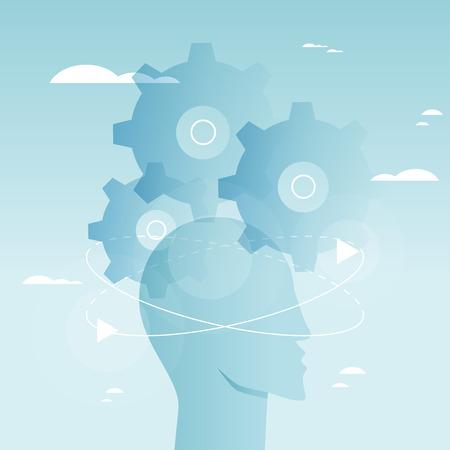 脳の機能、問題解決、創造性、心理的なプロセス ベクトル イラスト デザイン