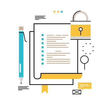 Digital data security flat line vector illustration design for mobile and web graphics.
