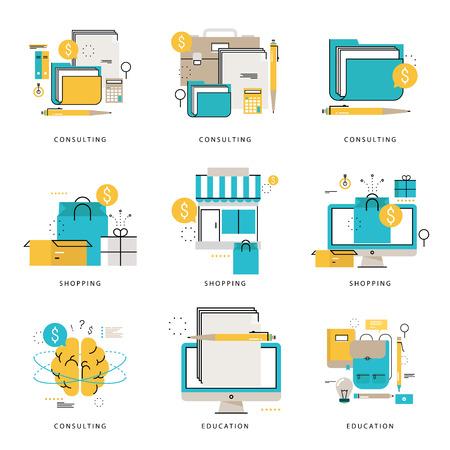 Colección de iconos infográficos de negocios y consultoría financiera, e-learning, educación en línea, compras en línea, e-commerce ilustración vectorial. Iconos de línea establecidos. Elementos gráficos de diseño plano web Foto de archivo - 85121535