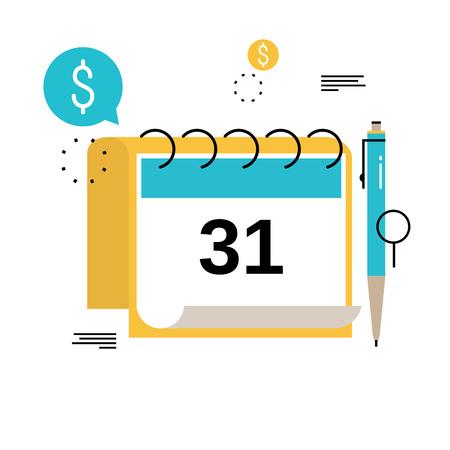 재무 일정, 재무 계획, 월별 예산 평면 벡터 일러스트 레이 션 디자인 계획. 모바일 및 웹 그래픽을위한 재무 계획 설계 일러스트