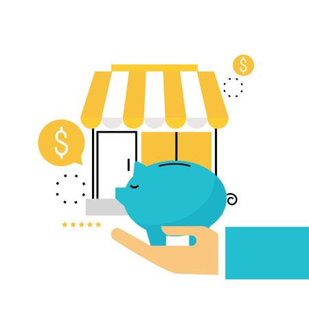 オンライン ストア、オンライン ショッピング、通販、e コマース、オンライン購入、販売、割引携帯電話用フラット線ベクトル イラスト デザイン