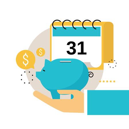 Financiële kalender, financiële planning, maandelijks begrotingsplan vlak vectorillustratieontwerp. Ontwerp van financiële planning voor mobiele en webafbeeldingen
