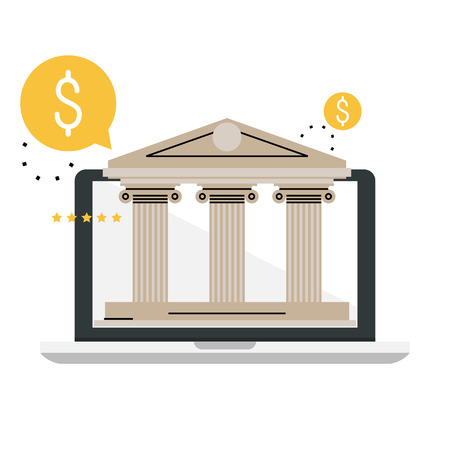 Banking and financial services. Online banking technology, bank building, internet financial service, financial investments flat vector illustration design for mobile and web graphics