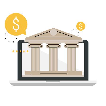 Servizi bancari e finanziari. Tecnologia bancaria online, costruzione bancaria, servizio finanziario internet, investimenti finanziari illustrazione vettoriale piatta illustrazione per la grafica mobile e web Archivio Fotografico - 85121544
