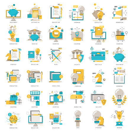 Web icons collection flat line vector illustration. Line icons set. Flat design web graphic elements for finance, business, money, investment, online shopping, education, e-learning, internet safety Stock Illustratie