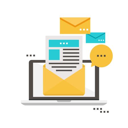 E-mail nouvelles, abonnement, promotion conception plate illustration vectorielle. Icône de la lettre d'information