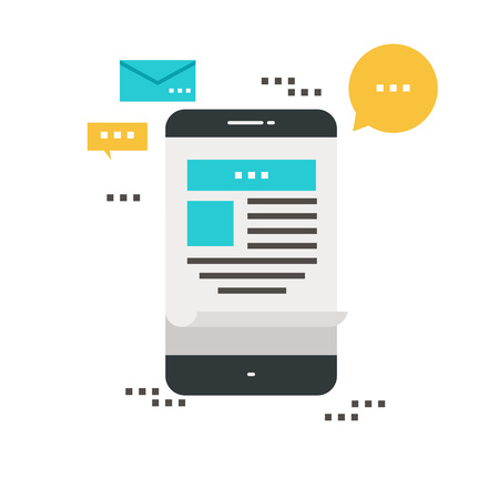 E-Mail-Nachrichten, Abonnement, Förderung flache Vektor-Illustration Design. Newsletter icon flach