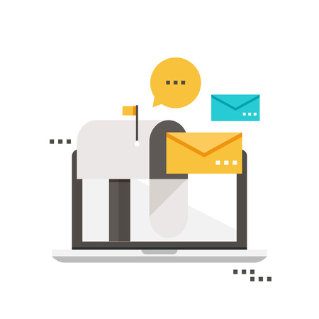 Email marketing, inbox message, email news, subscription, promotion flat vector illustration design 免版税图像 - 85563776