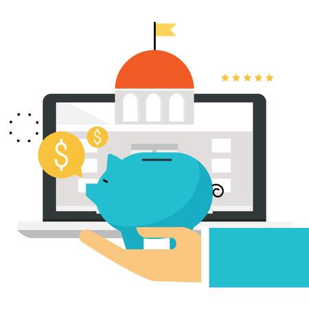 금융 및 금융 서비스. 온라인 뱅킹 기술, 저축, 인터넷 금융 서비스, 사업 투자 플랫 벡터 일러스트 디자인 모바일 및 웹 그래픽