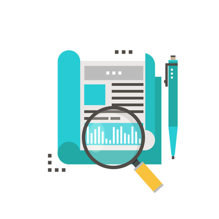 Business analytics and research, statistics and data flat vector illustration design. Financial audit, data analysis, research report Ilustração