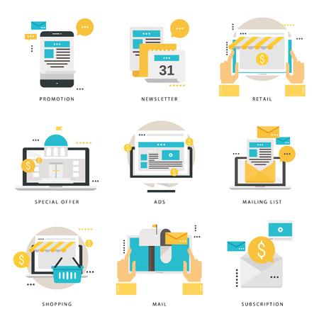 Infographic flat icons collection for promotion. Ilustração