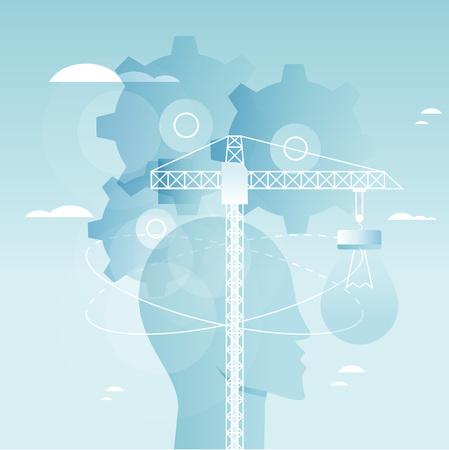 脳の機能、問題解決、創造性、心理的なプロセス イラスト デザイン。