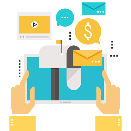 E-mail marketing, inboxbericht, e-mailnieuws, abonnement, bevordering, ontwerp van de videoboodschap het vlakke vectorillustratie
