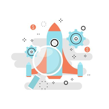 Processo di avvio del progetto di affari, lancio di idea di avvio, gestione di progetti, insegna di progettazione dell'illustrazione di vettore di linea piatta di lancio della partenza di affari