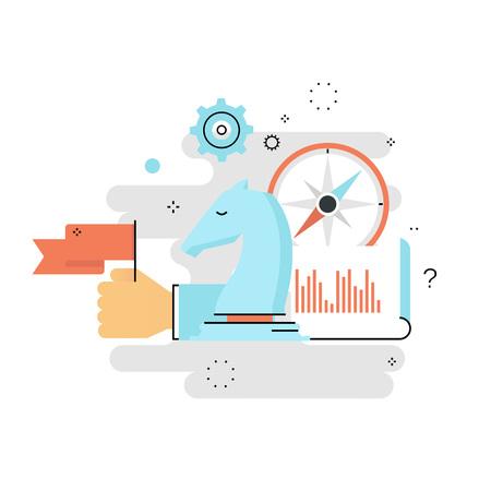 戦略的計画、ビジネス戦略平らな線ベクトル イラスト デザイン。ビジネス、リーダーシップ、携帯のビジネス管理の設計と web グラフィック成功