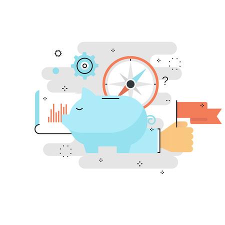 貯金箱バンクの概念、金融投資、予算管理、普通預金口座、預金、年金基金のお金、携帯電話用の計画平らな線ベクトル イラスト デザインは金融、  イラスト・ベクター素材