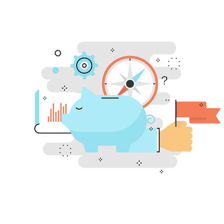 Concepto de hucha, inversión financiera, gestión presupuestaria, cuenta de ahorro, depósito, dinero de fondo de pensiones, diseño de ilustración de vector de línea plana de planificación financiera para móvil y gráficos web Ilustración de vector