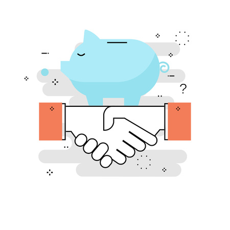 Financial partnership, cofinancing, business cooperation, joint investment, piggy bank concept flat line vector illustration design for mobile and web graphics