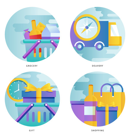 Truck delivery service, transportation, cargo shipment gradient color vector illustration design. Shipping order, grocery shopping, special offer design for mobile and web graphics Stock Vector - 87122710