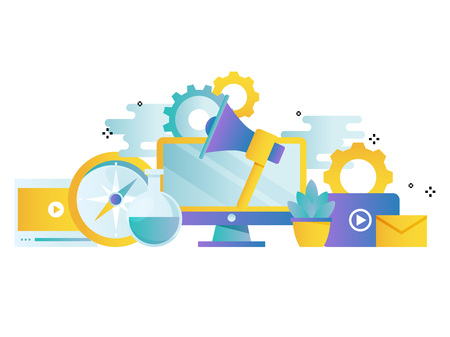 Digital marketing, online advertising gradient color vector illustration design. Product and services promotion, marketing campaigns, online communication design for mobile and web graphics