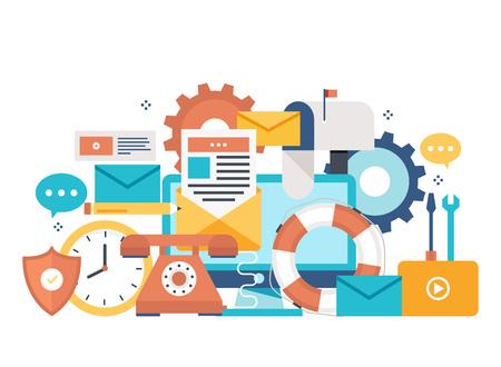 顧客サービス、顧客支援のフラットのベクトル図です。Web バナー、ビジネス プレゼンテーション、広告素材のテクニカル サポート、オンライン ヘ