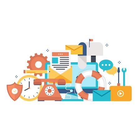 Customer service, customer assistance flat vector illustration. Technical support, online help, call center concept for web banner, business presentation, advertising material Illustration