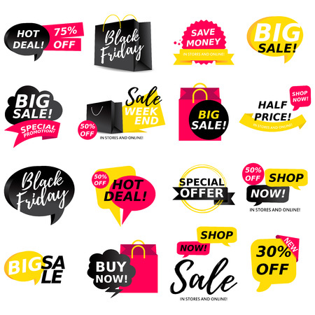 Colorful sale stickers collection. Sale badges. Online shopping, sale and promotion, website and mobile badges, promo banners, special offer, shopping vector illustration design and marketing material Illustration