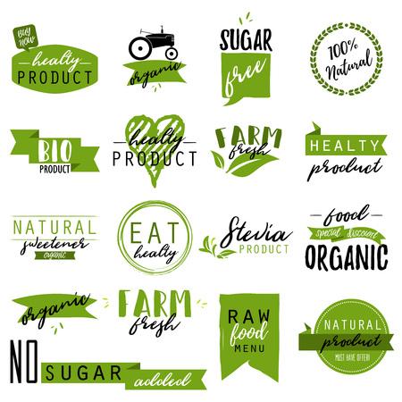 스티커 및 유기농 식품 및 음료, 레스토랑, 식품 상점, 천연 제품, 농장 신선한 음식, 건강 제품 홍보 배지. 천연 제품 배지 벡터 일러스트 레이션 일러스트