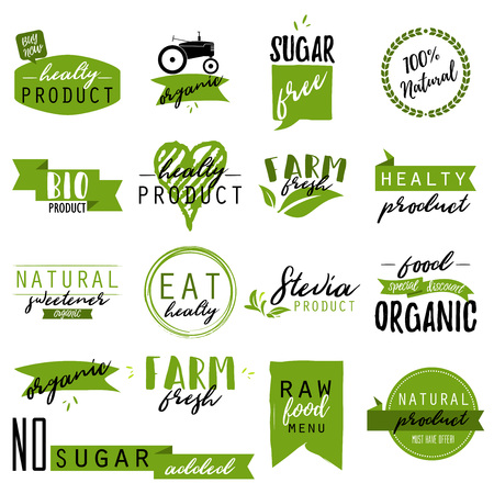 Stickers and badges for organic food and drink, restaurant, food store, natural products, farm fresh food, healthy products promotion. Natural products badges vector illustration Illusztráció
