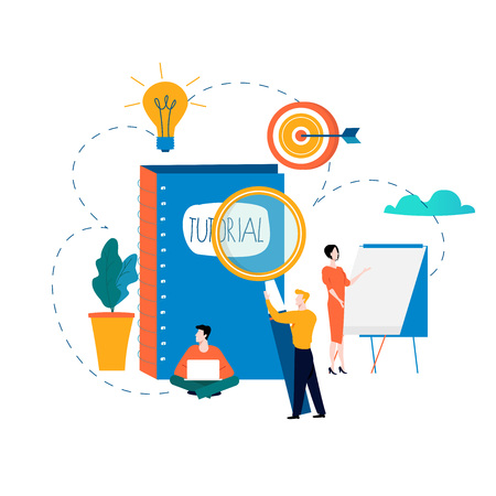 Professional training, education, tutorials, business courses, specialization vector illustration. Vectores