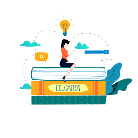 Education, online training courses, distance education vector illustration.