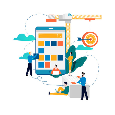 Mobile application development process flat vector illustration.