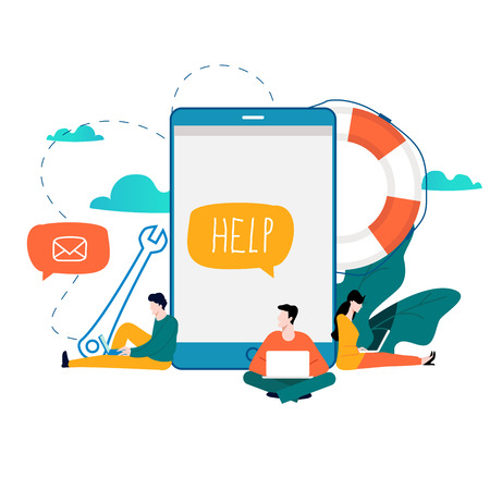 Customer service, customer assistance flat vector illustration.
