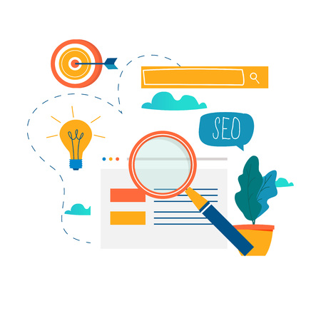 SEO、検索エンジン最適化、キーワードリサーチ、市場調査フラットベクトルイラスト。SEOの概念。Webサイトのコーディング、モバイルおよびWebグラ