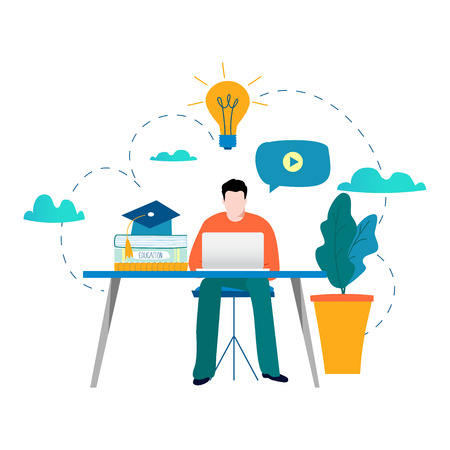 Education, online training courses, distance education vector illustration. Internet studying, online book, tutorials, e-learning, online education design for mobile and web graphics.