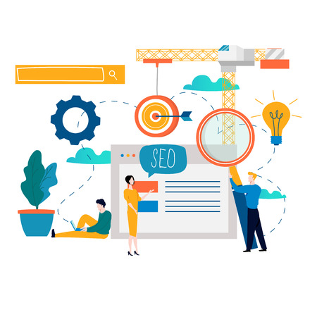 SEO, search engine optimization, keyword research, market research flat vector illustration. SEO concept. Web site coding, internet search optimization design for mobile and web graphics Stock Illustratie