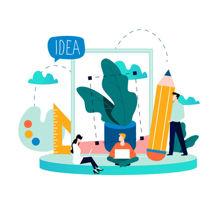 Design studio team, designing, drawing, graphic design, creativity, ideas flat vector illustration for mobile and web graphics