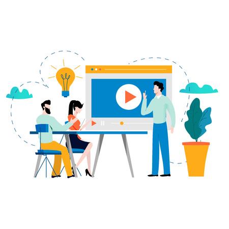 Formación profesional, educación, video tutorial, cursos de negocios en línea, presentación, ilustración de vector de seminario web. Experiencia, diseño de desarrollo de habilidades para móviles y gráficos web. Ilustración de vector