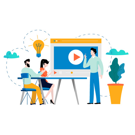 Professional training, education, video tutorial, online business courses, presentation, webinar vector illustration. Expertise, skill development design for mobile and web graphics Çizim